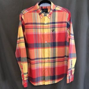 Men's casual madras pattern button down